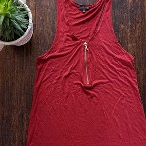 🌺 DYNAMITE Red Tank Top with Front Zipper